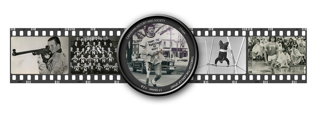 Film strip of images with photos of Gerry Ouellette, 1944 Grey Cup Team, Terry Fox, Arctic Sports and Arnold Boldt.